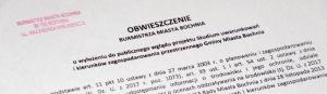 Obwieszczenie owyłożeniu dopublicznego wglądu projektu Studium Uwarunkowań iKierunków Zagospodarowania Przestrzennego GMB